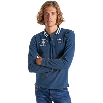 textil Herre Polo-t-shirts m. lange ærmer La Martina OMP325 JS005 Blå