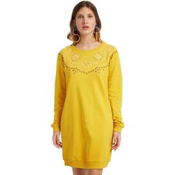 textil Dame Korte kjoler Desigual 19WWVK86 Gul