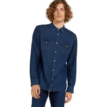 textil Herre Skjorter m. lange ærmer Wrangler W5MSLW301 Blå