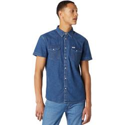 textil Herre Skjorter m. korte ærmer Wrangler W5J05D50B Blå