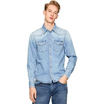 textil Herre Skjorter m. lange ærmer Pepe jeans PM301044PB1 Blå