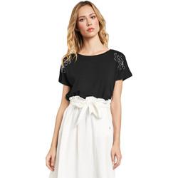 textil Dame T-shirts m. korte ærmer Gaudi 011FD64022 Sort