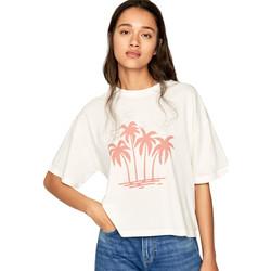 textil Dame T-shirts m. korte ærmer Pepe jeans PL504468 Beige