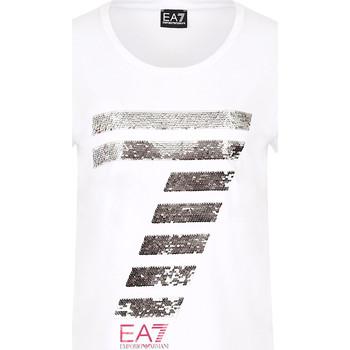 textil Dame T-shirts m. korte ærmer Ea7 Emporio Armani 3HTT41 TJ12Z hvid