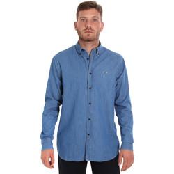 textil Herre Skjorter m. lange ærmer Les Copains 9U2361 Blå