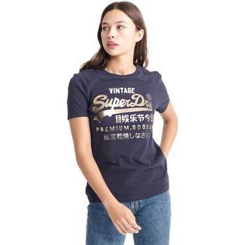 textil Dame T-shirts m. korte ærmer Superdry W1010049A Blå