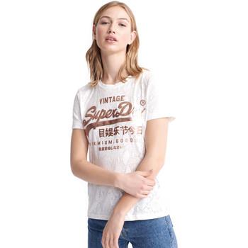 textil Dame T-shirts m. korte ærmer Superdry W1010090A hvid