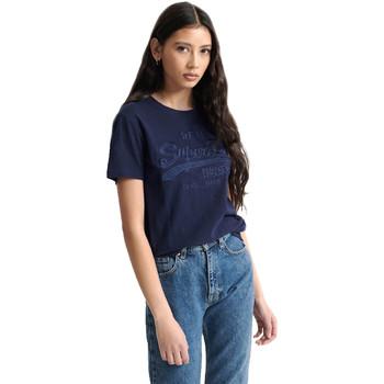 textil Dame T-shirts m. korte ærmer Superdry W1010028A Blå