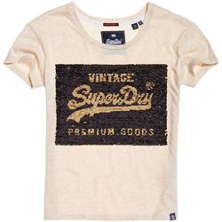 textil Dame T-shirts m. korte ærmer Superdry G10010MR Beige