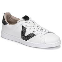 Sko Dame Lave sneakers Victoria TENIS PIEL GLITTER Hvid / Sort