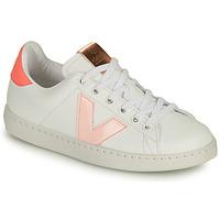Sko Pige Lave sneakers Victoria TENIS VEGANA CONTRASTE Hvid / Pink