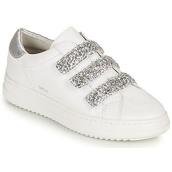 Sko Dame Lave sneakers Geox D PONTOISE C Hvid / Sølv