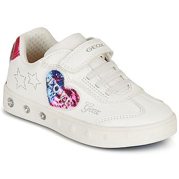 Sko Pige Lave sneakers Geox SKYLIN GIRL Hvid / Sort / Pink
