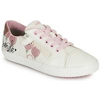Sko Pige Lave sneakers Geox GISLI GIRL Hvid / Pink