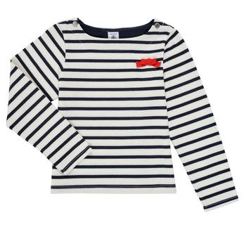 textil Pige Langærmede T-shirts Petit Bateau MAHALIA Flerfarvet