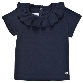 textil Pige T-shirts m. korte ærmer Petit Bateau MELISSA Marineblå
