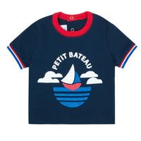 textil Dreng T-shirts m. korte ærmer Petit Bateau MENU Marineblå