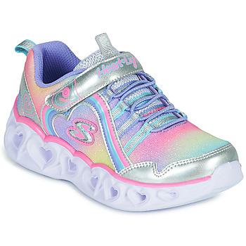 Sko Pige Lave sneakers Skechers HEART LIGHTS RAINBOW LUX Sølv / Pink