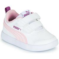 Sko Pige Lave sneakers Puma COURTFLEX INF Hvid / Pink