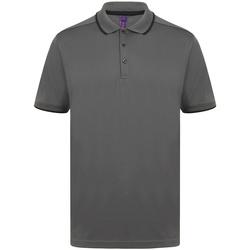 textil Herre Polo-t-shirts m. korte ærmer Henbury HB485 Charcoal/Black