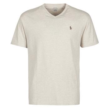 textil Herre T-shirts m. korte ærmer Polo Ralph Lauren T-SHIRT AJUSTE COL V EN COTON LOGO PONY PLAYER Beige / Klit / Lyng