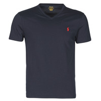 textil Herre T-shirts m. korte ærmer Polo Ralph Lauren T-SHIRT AJUSTE COL V EN COTON LOGO PONY PLAYER Blå