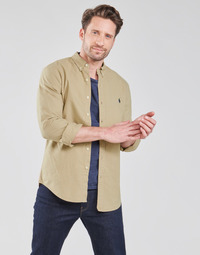 textil Herre Skjorter m. lange ærmer Polo Ralph Lauren CHEMISE CINTREE SLIM FIT EN OXFORD LEGER TYPE CHINO COL BOUTONNE Beige