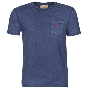 textil Herre T-shirts m. korte ærmer Polo Ralph Lauren T-SHIRT AJUSTE COL ROND EN COTON LOGO PONY PLAYER Blå