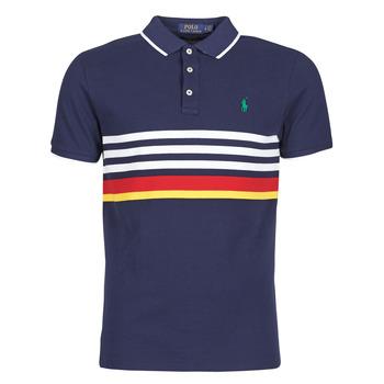textil Herre Polo-t-shirts m. korte ærmer Polo Ralph Lauren POLO AJUSTE DROIT RAYE AVEC DETAILS DE COL ET DETAILS MANCHES EN Marineblå