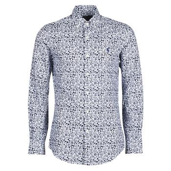 textil Herre Skjorter m. lange ærmer Polo Ralph Lauren CHEMISE CINTREE SLIM FIT EN POPLINE DE COTON COL BOUTONNE LOGO P Blå
