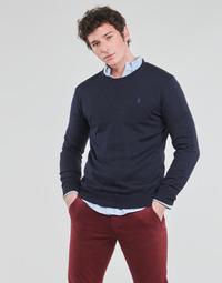 textil Herre Pullovere Polo Ralph Lauren PULL COL ROND AJUSTE EN COTON PIMA LOGO PONY PLAYER Blå