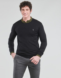 textil Herre Pullovere Polo Ralph Lauren PULL COL ROND AJUSTE EN COTON PIMA LOGO PONY PLAYER Sort