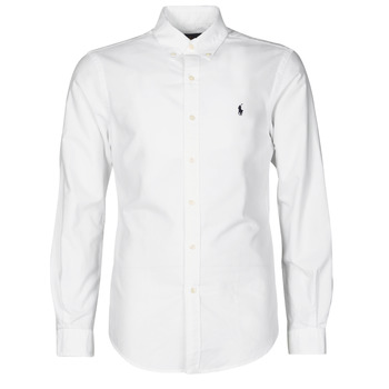 textil Herre Skjorter m. lange ærmer Polo Ralph Lauren CHEMISE CINTREE SLIM FIT EN OXFORD LEGER TYPE CHINO COL BOUTONNE Hvid