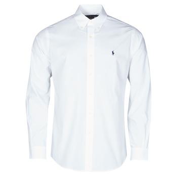 textil Herre Skjorter m. lange ærmer Polo Ralph Lauren CHEMISE AJUSTEE EN POPLINE DE COTON COL BOUTONNE  LOGO PONY PLAY Hvid