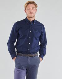 textil Herre Skjorter m. lange ærmer Polo Ralph Lauren CHEMISE AJUSTEE EN POPLINE DE COTON COL BOUTONNE  LOGO PONY PLAY Marineblå