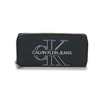 Tasker Dame Tegnebøger Calvin Klein Jeans ZIP AROUND GLOW Sort
