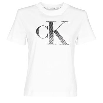 textil Dame T-shirts m. korte ærmer Calvin Klein Jeans SATIN BONDED FILLED CK TEE Hvid