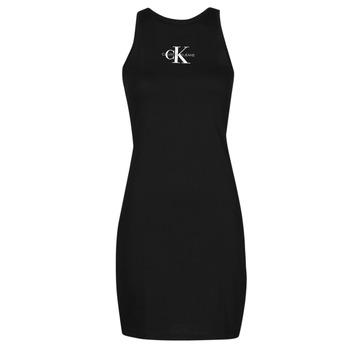 textil Dame Korte kjoler Calvin Klein Jeans MONOGRAM TANK DRESS Sort