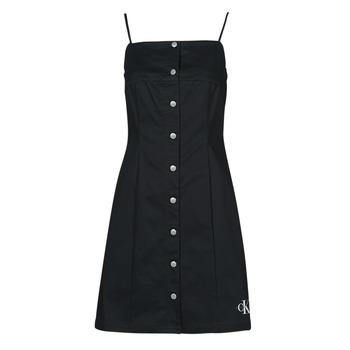 textil Dame Korte kjoler Calvin Klein Jeans COTTON TWILL BUTTON DRESS Sort