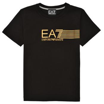 textil Dreng T-shirts m. korte ærmer Emporio Armani EA7 3KBT54-BJ02Z-1200 Sort / Guld