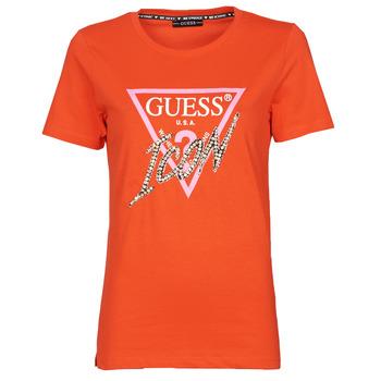 textil Dame T-shirts m. korte ærmer Guess SS CN ICON TEE Rød