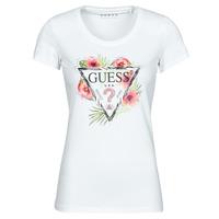 textil Dame T-shirts m. korte ærmer Guess SS CN REBECCA TEE Hvid / Flerfarvet