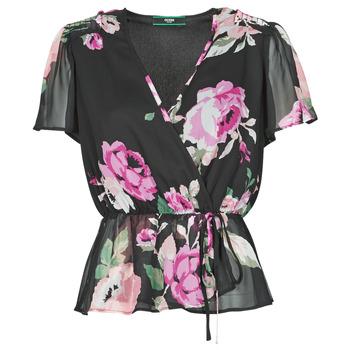 textil Dame Toppe / Bluser Guess SS NEREA TOP Sort / Flerfarvet