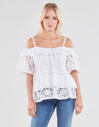 textil Dame Toppe / Bluser Guess SS NEW OLIMPIA TOP Hvid