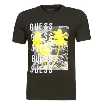 textil Herre T-shirts m. korte ærmer Guess CAMUSPACE CN SS TEE Sort / Flerfarvet
