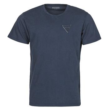 textil Herre T-shirts m. korte ærmer Guess LOGO ORGANIC BASIC CN SS TEE Marineblå