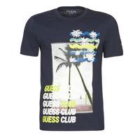 textil Herre T-shirts m. korte ærmer Guess GUESS CLUB CN SS TEE Marineblå
