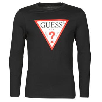 textil Herre Langærmede T-shirts Guess CN LS ORIGINAL LOGO TEE Sort