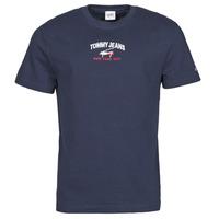 textil Herre T-shirts m. korte ærmer Tommy Jeans TJM TIMELESS TOMMY SCRIPT TEE Marineblå