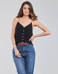 textil Dame Toppe / Bluser Tommy Jeans TJW CAMI TOP BUTTON THRU Sort